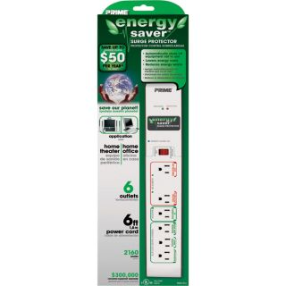 Prime Wire & Cable 6-Outlet Energy Saver Surge Protector  Extension Cords