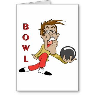 funny bowling man cartoon character greeting card