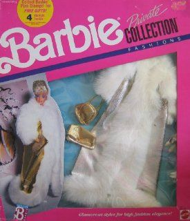 Barbie Private Collection Fashions   Glamorous Gold & Fur Coat & Accesories (1989 Mattel Hawthorne): Toys & Games