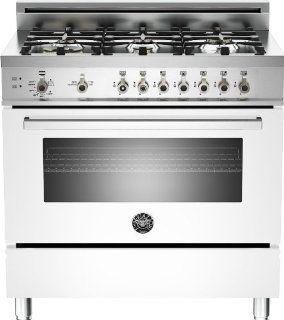 PRO366GASBI  Bertazzoni Professional 36 Gas Range, 6 Burners, Natural Gas   Bianco White Appliances