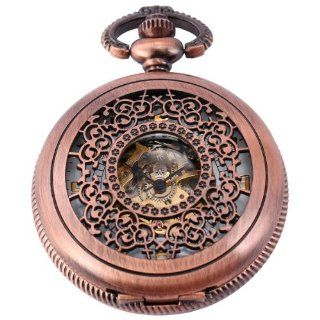 AMPM Vintage Men Women Skeleton Mechanical Roman Carved Pendant Pocket Watch WPK125: Watches