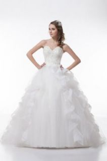 GEORGE DESIGN Elegant Ball Gown Sweetheart Neckline Chapel Train Wedding Dress at  Women�s Clothing store