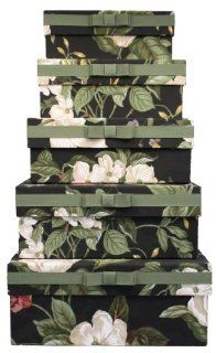 Waverly WVFCB5 G011 TB Fabric Covered Storage Boxes, Nested Set of 5, Garden Image Onyx, 15 by 11 by 6 Inch   General Home Storage Containers