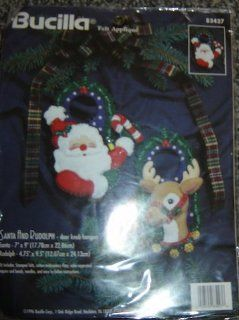 Bucilla Felt Applique Door Knob Hangers, Kit #83427, Santa and Rudolph