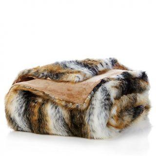A by Adrienne Landau White Tiger Faux Fur Throw