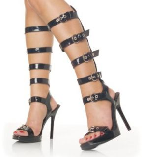 5 Inch Womens Sexy Shoes Black high Heel Shoes Exotic 5 Buckles Spike Heel Black Sandals Shoes