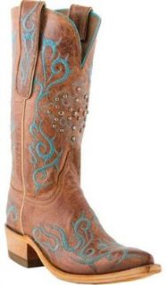 Lucchese N4746 Ladies' Peanut Brittle Burnished Mad Dog Goat Boots Shoes
