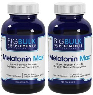 Melatonin Max Natural Sleep Cycle Support Big Bulk Suplements Melatonin 10mg 240 Capsules 2 Bottles Health & Personal Care