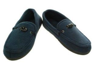 Isotoner Men's Fleece Moccasin Indoor Outdoor Boat Slippers (Large 9.5 10.5): Shoes