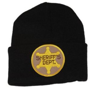 3D Patch Embroidery Law Enforcement Black Cuff Beanie, Sheriff's Dept. at  Men�s Clothing store: Skull Caps
