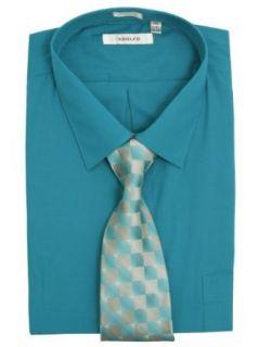 Adolfo Mens Solid Dark Aqua Blue Dress Shirt + Tie Set   Size 19 34/35 at  Men�s Clothing store