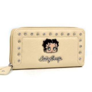 Betty Boop Rhinestone Studded Zip Around Wallet Purse   Beige: Shoes