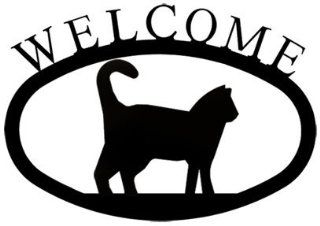 VWI WEL 6 S Cat Welcome Sign SM Powder Metal Coated  Yard Signs  Patio, Lawn & Garden