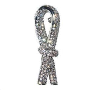 Brain Cancer Awareness Ribbon Pin Brooch Jewelry White and Silver Swarovski C: Jewelry