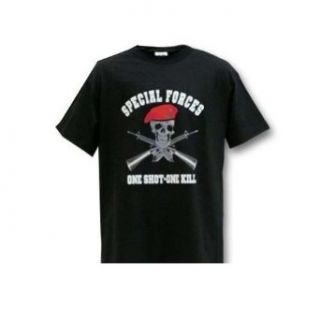 "Special Forces ""One Shot   One Kill"" T Shirt   BLACK: Clothing"