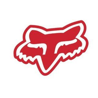 "Fox Racing Fox Logo Solid Face   Vinyl Decal Sticker 3"" RED: Automotive"