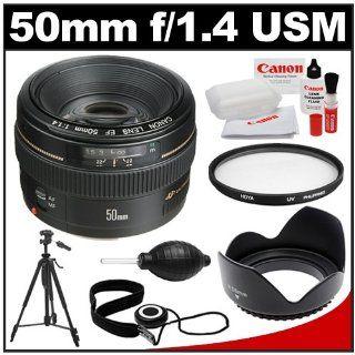 Canon EF 50mm f/1.4 USM Lens with Hoya UV Filter + Hood + Tripod + Accessory Kit for EOS 60D, 7D, 5D Mark II III, Rebel T3, T3i, T4i Digital SLR Cameras : Camera Lenses : Camera & Photo
