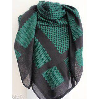 Black Green Arab Shemagh Head Scarf Neck Wrap Authentic Cottton Palestine Arafat Army Desert Wear