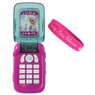 Disney Frozen Flip Phone with Hot Pink Pretty Little Princess Bracelet: Toys & Games