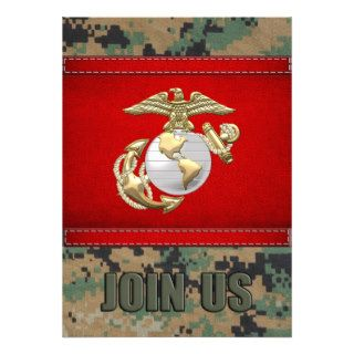 USMC Eagle, Globe & Anchor (EGA) [3D] Custom Invitation