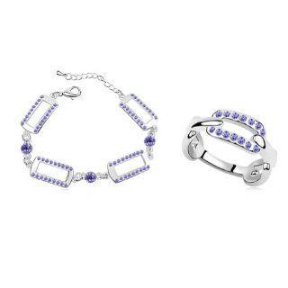 Mondaynoon Swarovski Elements Austrian Crystal Jewelry Sets Bugera Lover (Purple): Choker Necklaces For Women: Jewelry