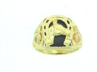 Authentic! 10k Yellow gold Black Hills Gold Men's onyx Horseshoe Ring: Jewelry
