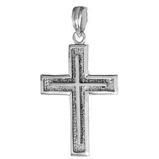14k White Gold Religious Necklace Charm Pendant, Cross On Square Edged Frame Million Charms Jewelry