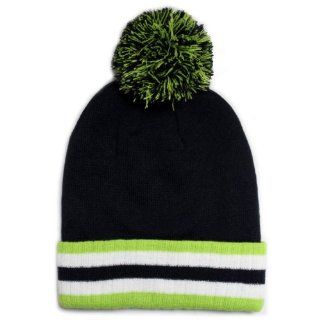 City Hunter Sk921 Plain Striped Folding Pom Beanie   Black/lime : Everything Else