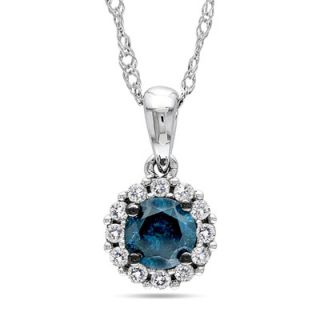 Blue and White Diamond Frame Pendant in 10K White Gold   17   Zales