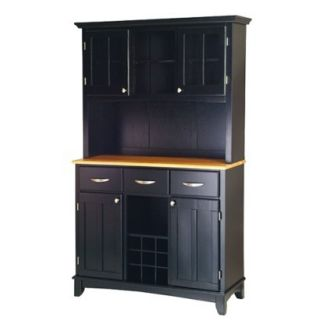 Home Styles Buffet with 2 Door Hutch   Black/Nat