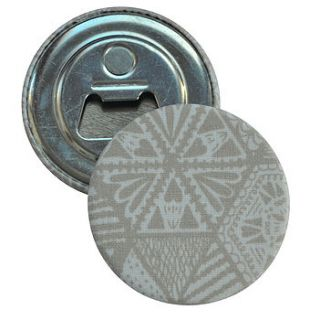 magnetic bottle opener   hexie doodle taupe by grace & favour home