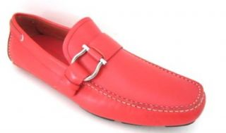 Salvatore Ferragamo Cabo 2 Mens Red Leather Loafers Shoes Made in Italy (9.5  D(M) US) Shoes