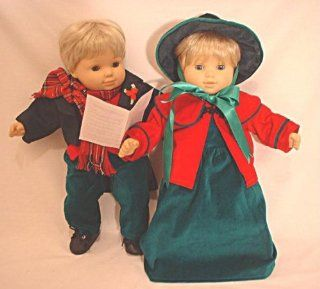 "Caroling Costume Christmas Holiday Santa's Little Helper Boy and Girl Outfit Set for 12"" 15"" 18"" Like Bitty Baby & Twins, Baby Doll, American Girl, Corolle, Our Generation, Madame Alexander: Toys & Games"