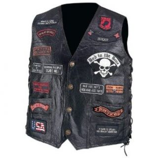 Diamond Plate Men's Buffalo Leather Biker Vest with 23 Patches  Medium Black: Home & Kitchen