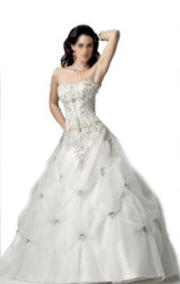 Ball Gown Strapless Court Train Wedding Dress With Ruffle/Applique Organza/ Taffeta at  Women�s Clothing store