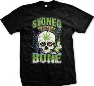 Stoned To The Bone, Skull Smoking Joint Men's T shirt Funny Pot Weed Smoking Design Men's Tee: Clothing