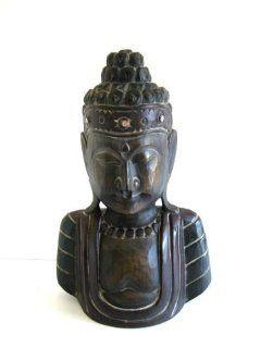 "Buddha Statue Wood Buddha Peace Sculpture Bali Art   16"" Collector's Item  OMA BRAND   Bust Sculptures"