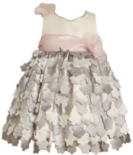 Bonnie Jean Girls 2 6X Shantung Bodice Empire Waist Dress, Silver, 4T Clothing