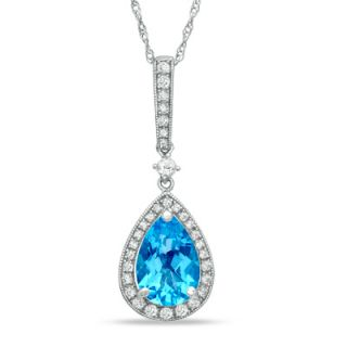 Pear Shaped Swiss Blue Topaz and Lab Created White Sapphire Frame Drop