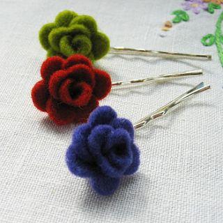 wool felt rose hairslide by donna smith designs