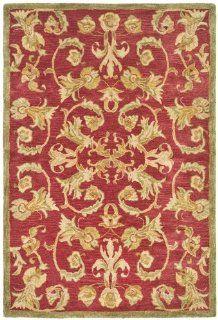 Safavieh AN527A Anatolia Collection 4 Feet by 6 Feet Handmade Hand Spun Wool Area Rug, Burgundy and Sage