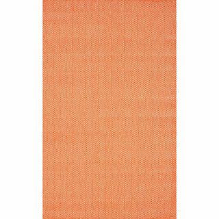 Nuloom Handmade Flatweave Herringbone Chevron Orange Cotton Rug (5 X 8)