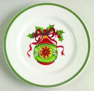Christopher Radko Holiday Celebrations (Green Trim) Canape Plate, Fine China Din