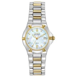 Ladies Citizen Eco Drive™ Riva Two Tone Watch with Mother of Pearl