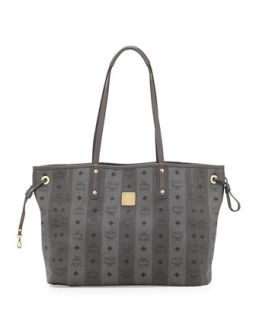 Shopper Project Reversible Tote Bag, Gray Stripe   MCM