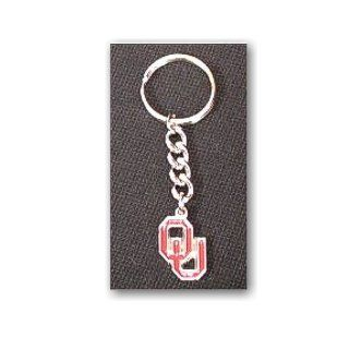 University of Oklahoma Sooners   Keychain   Pewter OU logo  Sports Related Key Chains  Sports & Outdoors