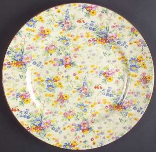 Royal Winton Floral Feast Dinner Plate, Fine China Dinnerware   Chintz, Ivory Ba