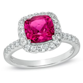 0mm Cushion Cut Lab Created Ruby and White Sapphire Frame Ring in