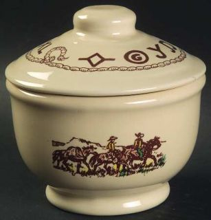 True West Westward Ho Sugar Bowl & Lid, Fine China Dinnerware   Beige Background