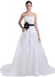GEORGE BRIDE Beaded Lace Bodice With Net Chapel Train Wedding Dress at  Women�s Clothing store